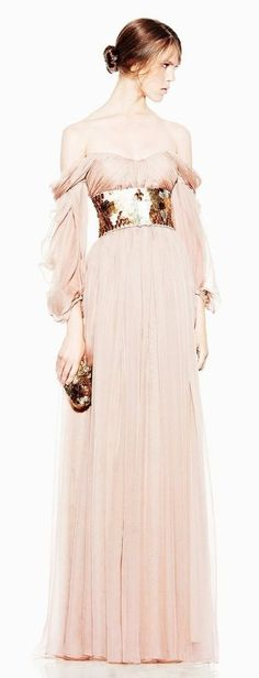 - this reminds me of the goddesses Athena's dress - McQ by Alexander McQueen dress peach fantasy queen princess pink soft tulle designer couture Beautiful Gowns, Beautiful Outfits, Gorgeous Dress, Dress Couture, Alexandre Mcqueen, Vestidos Fashion, Mode Rose, Look Fashion, Fashion Design