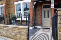 Victorian London Mosaic black and white path tile metal gate rails Batersea Clapham Balham Streatham