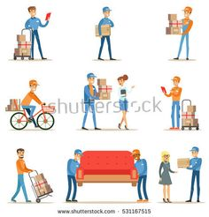 stock-vector-different-delivery-service-workers-and-clients-smiling-couriers-delivering-packages-and-movers-531167515.jpg (450×470)