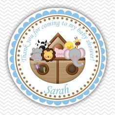 Noah's Ark Blue  Personalized Stickers Party by sharenmoments