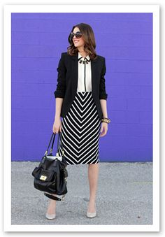white blouse, black three-quarter sleeve blazer, black + white chevron skirt, nude pumps :: office glam <3 For tips and advice on #trends and #fashion, Visit http://www.makeupbymisscee.com/