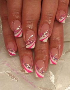 Pink and white with glitter