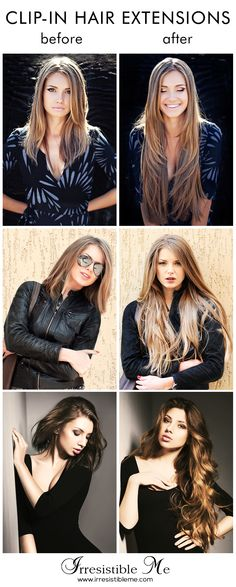 Make a dramatic hairstyle change with Irresistible Me 100% human Remy clip-in hair extensions. You can add length and volume in a matter of minutes and you get to choose the color, length and weight. Can be cut, colored and heat styled. Free returns and exchanges, worldwide delivery. They work for really short hair too! Click to get 20% off on your first order!