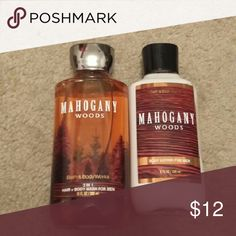 Brand new. Mahogany woods men's bundle. Body gel and body lotion bath and body works  Other