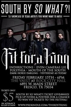 """February 15 @ The Vault - Third String Productions presents """"South By So What?! Five Dollar Texas Showcase"""" featuring Fir For A King 