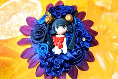 Blue and Purple Chobits Inspired  Fascinator, Geeky, Blue Hair Clip, Kawaii, Blue Hair Flower, Decora, Lolita, Cosplay, Anime, Kotoko