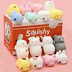 Mochi Squishy Toys, Satkago 20 Pcs Mini Squishies Mochi Animals Stress Toys Panda Squishy Kawaii Squishy Cat Stress Reliever Anxiety Toys For Children Adults: Amazon.co.uk: Toys & Games