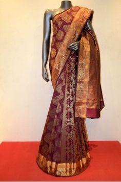 Maroon Designer Grand Wedding Kanjeevaram Silk Saree Product Code: SSJG01010