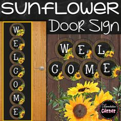 Free Farmhouse Classroom Decor welcome banner with sunny yellow watercolor sunflower accents. This will add a rustic country chic feel to any farmhouse classro Preschool Door, Preschool Classroom Decor, Infant Classroom, Classroom Decor Themes, Classroom Design, Classroom Ideas, Kindergarten Classroom, Preschool Ideas, Fall Classroom Door