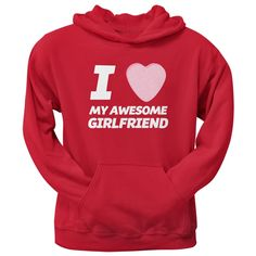 I Love My Awesome Girlfriend Candy Heart Red Pullover Hoodie