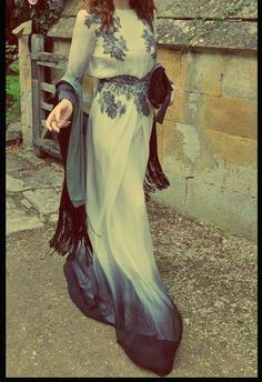 Floor length black and white dress