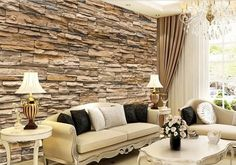 3D Wallpaper Bedroom Living Mural Roll Modern Faux Brick Stone Wall Background  #New