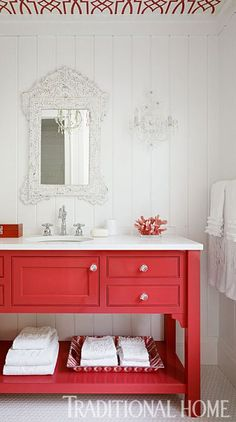 colorful bathroom vanities - red vanity from Traditional Home