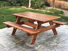**For local delivery or pickup only** Colorado Front Range Area. Call : Built to last, using beautiful Redwood and Stainless steel hardware. All tables include a hand rubbed natural toned stain/sealant. Dimensions: Table Top is x x Seats are 11 x x Teak Furniture, Diy Pallet Furniture, Woodworking Furniture, Woodworking Plans, Outdoor Furniture, Furniture Design, Outdoor Garden Decor, Garden Table, Indoor Firewood Rack