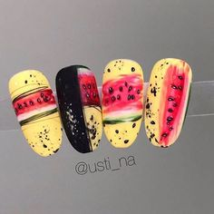 90 Beautiful Square Nails Design Ideas You'll Want To Copy Immediately – Page 5 – Cocopipi Fruit Nail Designs, Nail Art Designs, Nails Design, Nail Art Fruit, Uñas Diy, Nail Drawing, Nailart, Square Nail Designs, Almond Acrylic Nails
