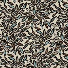 Aqua Beige and Brown Foliage Leaf Linen and Microfiber Upholstery Fabric