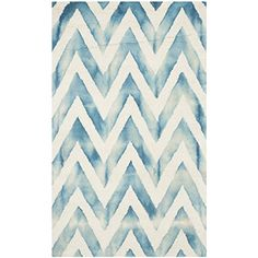 Safavieh Dip Dye Collection DDY715H Handmade Ivory and Turquoise Wool Area Rug, 3-Feet by 5-Feet Safavieh