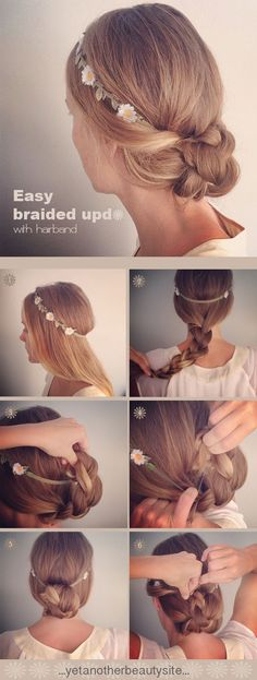DIY braided updo wedding hairstyles for boho and garden themed weddings
