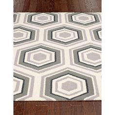nuLOOM Hand-hooked Honeycomb Wool Grey Rug (7'6 x 9'6)   Overstock.com Shopping - The Best Deals on 7x9 - 10x14 Rugs