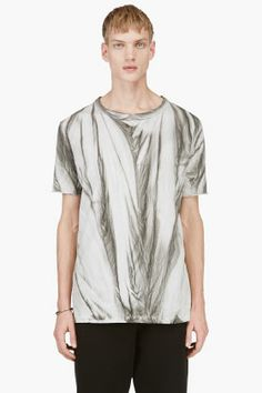 SILENT BY DAMIR DOMA Grey Printed Distressed Crewneck Tim T-Shirt