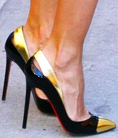 love the black and gold on these louboutins.  find more women fashion on misspool.com