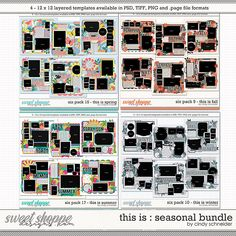 Cindy's Layered Templates - This is Seasonal Bundle by Cindy Schneider Drop Shadow, Scrapbook Templates, Digital Scrapbooking, Photo Wall, Memories, Seasons, Make It Yourself, How To Make, Products