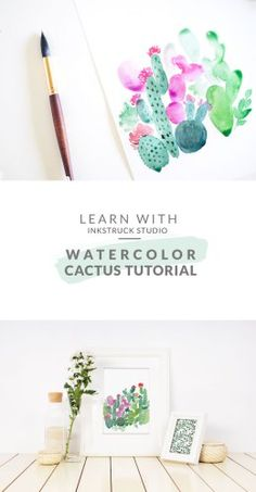 Watercolor cactus painting tutorial | Inkstruck Studio (part of watercolor tutorials)