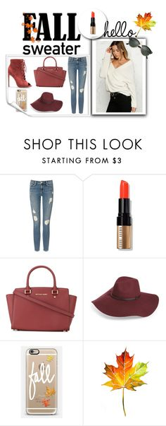 """Fall cosy sweater"" by mberry91 on Polyvore featuring moda, Frame Denim, Bobbi Brown Cosmetics, MICHAEL Michael Kors, Halogen, Casetify, Ray-Ban i fallsweaters"