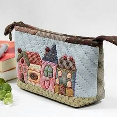 Quilted pouch with houses @Craftsy