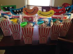 Bounce house popcorn party favors.