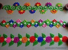 Easy border rangoli designs for Diwali Rangoli Designs Simple Diwali, Simple Rangoli Border Designs, Rangoli Simple, Rangoli Designs Latest, Rangoli Borders, Rangoli Designs Flower, Rangoli Patterns, Free Hand Rangoli Design, Small Rangoli Design