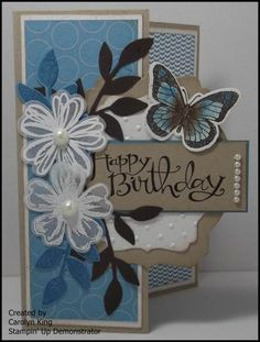 use of die cuts and embossed textures Fun Fold Cards, Cool Cards, Greeting Cards Handmade, Butterfly Cards Handmade, Stamping Up Cards, Happy Birthday Cards, Paper Cards, Flower Cards, Creative Cards