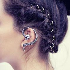 gypsy warrior skull snake ear cuff!