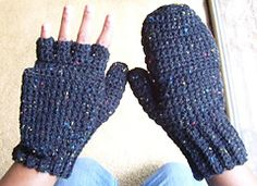 Ravelry: Crocheted Mittens / Fingerless Gloves with fold up flap for warm fingers! Free Pattern