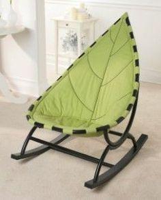 Leaf chair Mobilia, Green Furniture, Funky Furniture, Unique Furniture, Furniture Design, Home Decor Furniture, Nursery Rocker, Baby Rocker, Kids Rocking Chairs