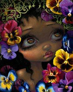 The Language of Flowers II : Pansies by Jasmine Becket-Griffith - - fantasy art big eyes by Strangeling - lowbrow art - pansy flowers