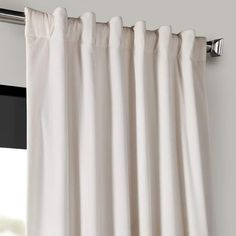 Shop for Exclusive Fabrics Signature Off White Velvet Blackout Curtain Panel. Get free delivery On EVERYTHING* Overstock - Your Online Home Decor Outlet Store! White Velvet Curtains, Velvet Curtains Bedroom, Curtains 1 Panel, Room Darkening Curtains, Blackout Curtains, Curtain Length, Custom Drapes
