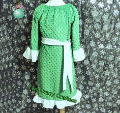 Custom Boutique Kelly Green Minky Dot Peasant Dress with Tie. Can also be used as night time ware, SOOOOO Soft!  Made by TwoCrazyCrafters, $22.00
