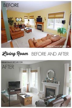 Living Room Before and After Makeover.  Lovely.  Walls:  Sherwin Williams, Mindful Gray, SW 7016.  So pretty.  ~~The Power of Paint!~!~~