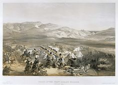 'Charge of the Heavy Cavalry Brigade, 25th Oct 1854', by William Simpson, 1854 (lithograph). William Simpson (1823-99) was a Scottish painter who became noted for his depictions of the Crimean War (1853-6)