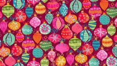 """Christmas Tree Baubles on Red 100% cotton fabric Size 22"""" x 18"""" larger available"""