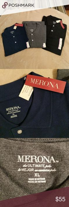 3 PACK of MERONA POLO SHIRTS!!! BRAND NEW. Tags and stickers. No tags on the grey one. Never worn. Navy Blue, Black and Grey! Merona Shirts Polos