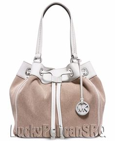 Michael Kors Marina Large Drawstring Tote Bag Handbag Hemp Beige NWT #MichaelKors #ShoulderBag