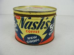 Vintage Coffee Cans | vintage antique old Nash's coffee tin can is the one pound size