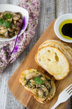 Garlic & butter mushroom crostinis