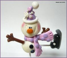 NEW Polymer Clay Skating Snowman Sculpture by michellesclaybeads