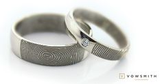 This is our Classic fingerprint wedding set: 18k white gold, a touch of sparkle, simply unique! www.vowsmith.com Fingerprint Ring, Fingerprint Wedding, Wedding Sets, Wedding Rings, White Gold, Sparkle, Touch, Engagement Rings, Classic