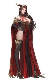 Daeho-Cha [League of Angels - Fire Dragon Fantasy Girl, Chica Fantasy, Fantasy Art Women, Beautiful Fantasy Art, Dark Fantasy Art, Fantasy Artwork, Anime Fantasy, Anime Sword, Demon Art