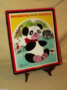 MAGNETIC INLAID PLASTIC FRAME TRAY PUZZLE TEACH A TOT TOY PANDA T6580A PLAYSKOOL #Playskool