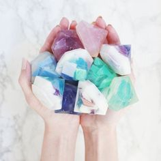 Learn how to make these pretty gemstone soaps!